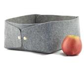 Nordic design storage basket, low large grey felt storage box, bawl, plateu, toy storage box, gray felt scandi homedecor,
