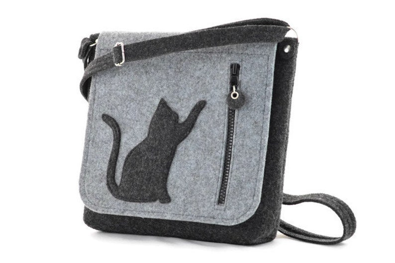 9b4f298a146 Grey Medium Size Felt Bag with a Cat, Kitty, Cross body, handbag, purse,  felted, anthracite, modern, eco,