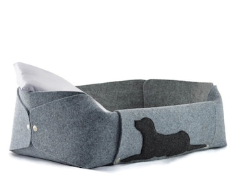 Dog Bed with a pillow, Felt Dog House, Dog Lover Gift, Room Decor, Gray, Charcoal, Anthracite, cosy puppy bed, gift for a dog