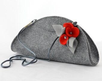 Grey Small Felt Cute Handbag Cluch with a Red Wool Brooch