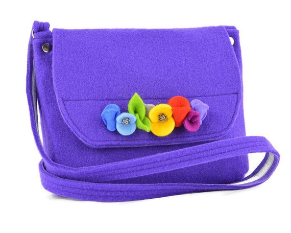 Girls Purse with flowers, Felt purse for