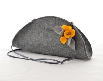 Grey Small Felt Cute Handbag Cluch with a Yellow Wool Brooch