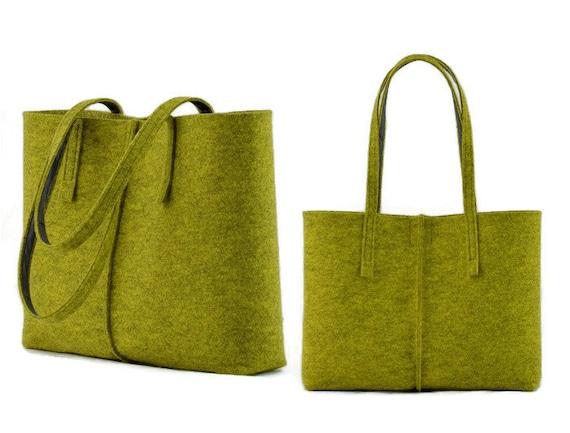Minimalista del feltro borsa verde lime, Tote grande dimensione feltro Bag, borsa in feltro verde, moderno shopping bag, borsa a tracolla, borsa