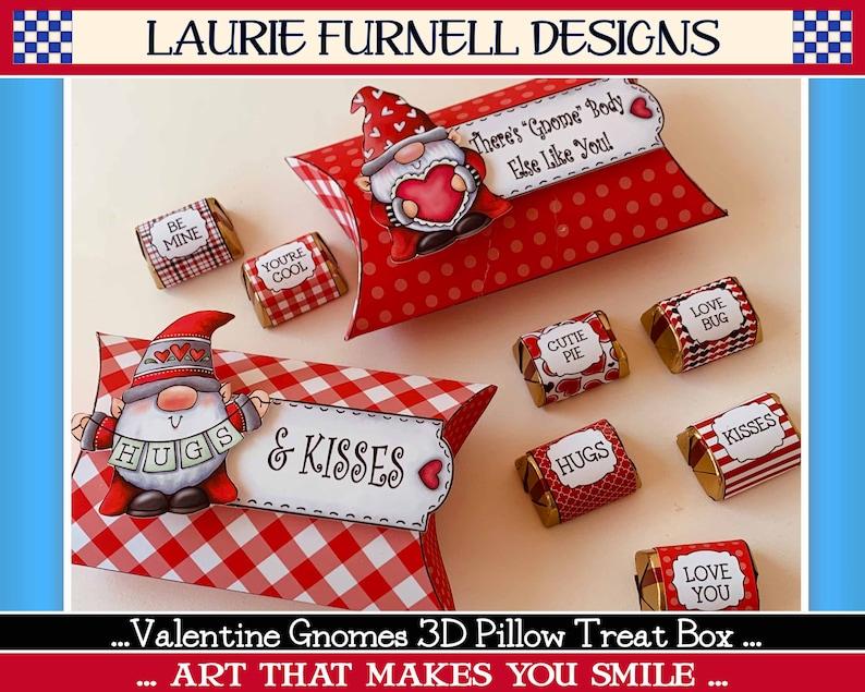 Valentine Gnome Treat Box Valentines Day Printable Candy Box image 0