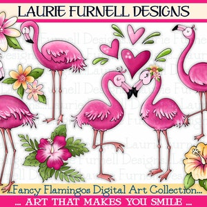 Coral Love Flamingo Flamingo Hawaiian Party CA189 Glitter Gold Instant Download Pink Pineapple Peach Tropical Clip Art