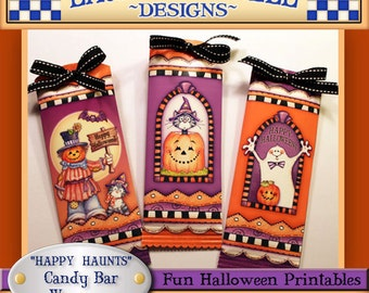 Halloween Candy Bar Wrappers, Laurie Furnell, Candy Bar Wrappers, Halloween Printables, Papercrafts, Halloween Treats, Hershey Bar Wrappers