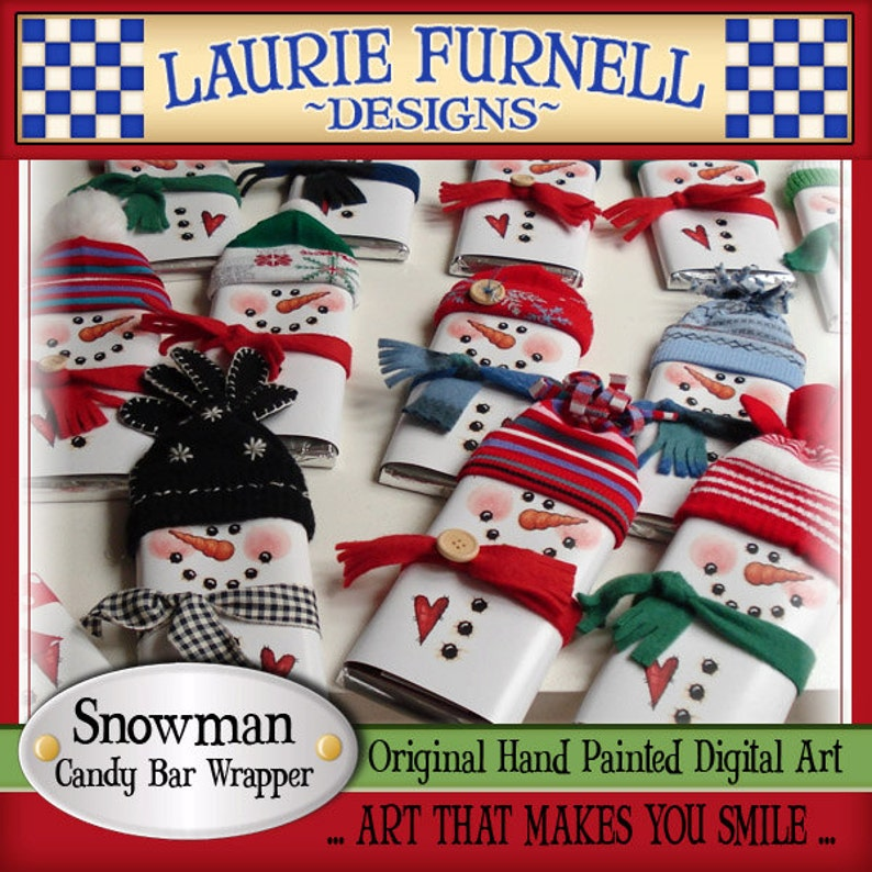 Snowman Candy Bar Wrapper Laurie Furnell printables holiday image 0
