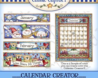 Calendar Creator, calendar digital art, seasonal clipart, calendar printable, scrapbooking, papercrafts,  Laurie Furnell, Digital art