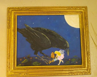 "oringinal painting ""Girls Night"", Raven and fairy pals getting beautiful for a fun night out. crow, fairy, raven"