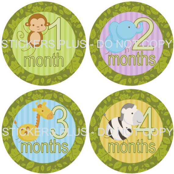 69d53be19408 Baby Month Stickers Neutral Monthly Milestone Stickers Jungle