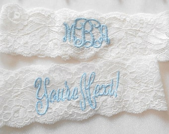 24c7f9c6501 MONOGRAMMED Wedding Garter MANY COLORS Bridal Garter Floral Stretch Lace  Bridal Garter Single Garter