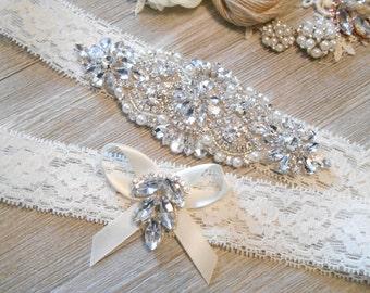 Wedding Garter FREE MONOGRAMMING Beautiful Silver or Rose Gold Rhinestone Piece  Bridal Garter Floral Stretch Lace Bridal Garter Set