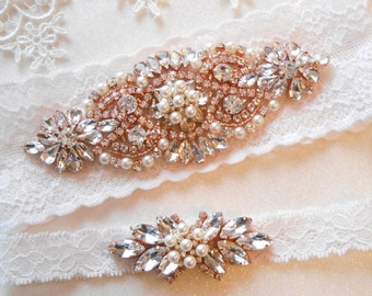 Wedding Garter Set Lingerie Stretch Lace Bridal Garter Set Silver or Rose Gold With Beautiful Bright Rhinestones and Pearls Garter Set.