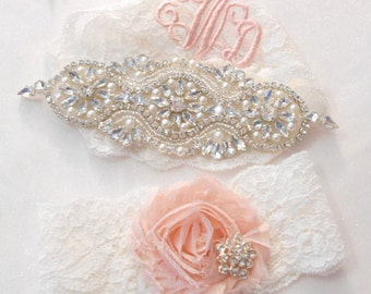 Wedding Garter Set Add MONOGRAMMiNG SILVER or ROSE GOLD Lingerie Lace Classic Pearls and Rhinestone Setting Shabby Rose Bridal Garter Set