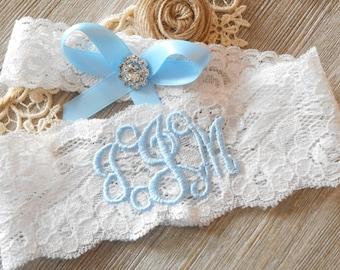Blue Wedding Garter or Choose your color Lace Bridal Monogrammed Personalized Garter Shower Gift