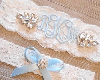 MONOGRAMMED Wedding Garter 2 Inch MANY COLORS Bridal Garter Floral Stretch Lace Bridal Garter Single Garter