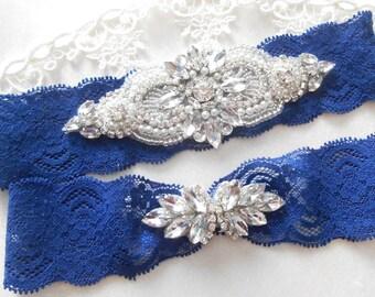 Wedding Garter FREE MONOGRAM Beautiful Rhinestone Piece Bridal Garter Floral Stretch Lace Bridal Garter Set