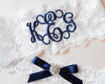 Personalized Wedding Garters Brides Something Blue Garter You're Next MONOGRAMMED Bridal Garter Floral Stretch Lace Single Garter