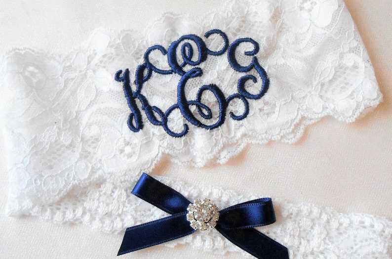 Personalized Wedding Garters Brides Something Blue Garter image 0