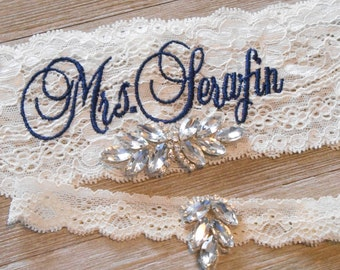 MONOGRAMMED Wedding Garter MANY COLORS  Bridal Garter Floral Stretch Lace Bridal Garter Single Garter