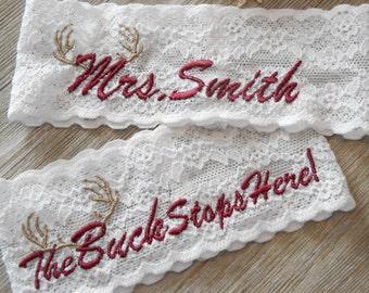 DEER ANTLERS MONOGRAMMED Wedding Garter Set or Single Keepsake Bridal Garter Floral Stretch Lace Bridal Garter Set or Single Garter