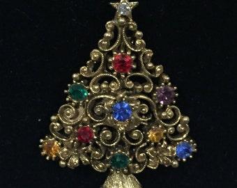 971de299b Vintage J.J. Gold Christmas Tree Brooch Multi Colored Rhinestones Holiday  Brooch Designer Signed JJ