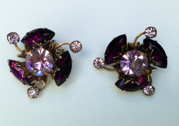 Juliana Earrings Purple and Lavendar Clip On Earri
