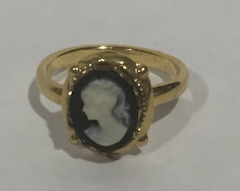 Vintage Gold Tone Cameo Ring Size 7 Adjustable Cameo Vintage Ring Gold Very Nice