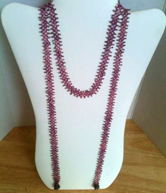 Vintage Flapper Necklace Seed Bead Lariat Flapper