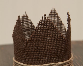 Newborn Burlap Crown, Newborn Photography Prop, Sweet and Simple Baby Crown, With Twine Accent