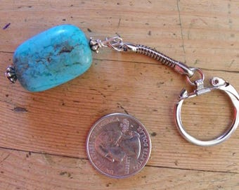 key ring turquoise and silver made in New Mexico