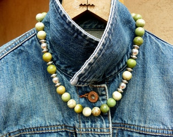 Jasper and silver findings Indian made necklace