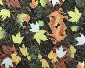 1 1/2 Yards Polyester Stretch Fabric - Leaves / Pine Needles