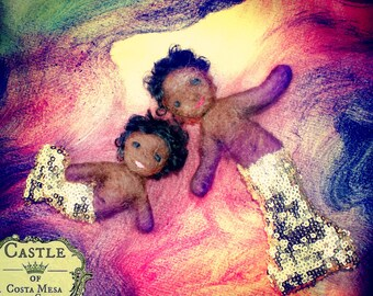 Waldorf African Mermaid father and Merbaby set needle-felted summer seasons table dolls
