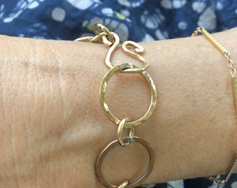 Handmade 14k G/F and copper link bracelet