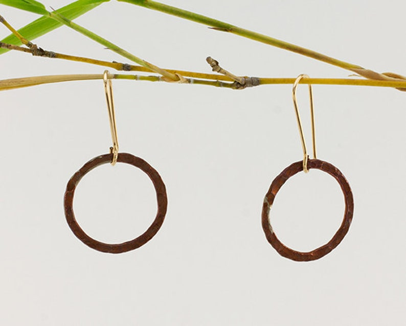 1 Inch Hammered Copper Hoops Price image 0