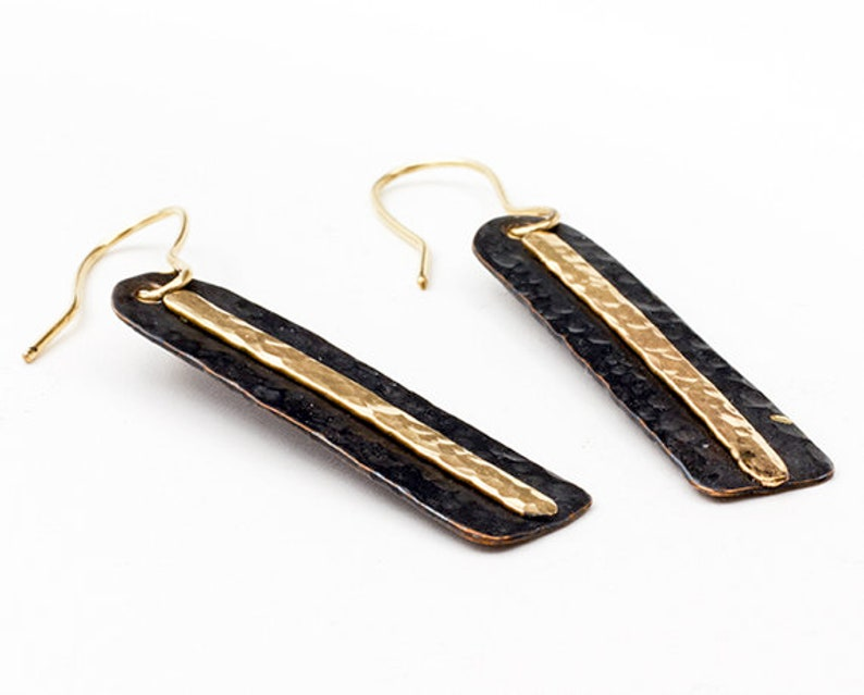 Striking Black Patina Copper Earrings With 14 kgf Accent image 0