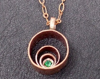 Glowing Copper Circle Necklace with Green Tsavorite Stone