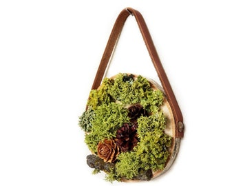 """Leather Hanging Pacific Northwest Forest Plant Collection, 4-5"""", living moss wall art, hanging moss decor, home office wall decor, Woodland"""