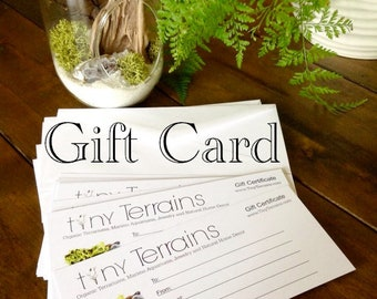 FREE SHIPPING Tiny Terrains Gift Certificate, Mailed or Emailed in 24 hrs, Any Amount, Beautiful and Professionally Printed