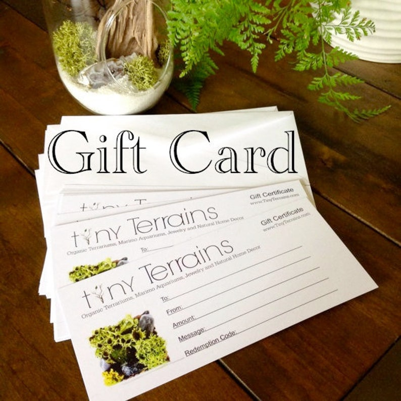 FREE SHIPPING Tiny Terrains Gift Certificate Mailed or image 0