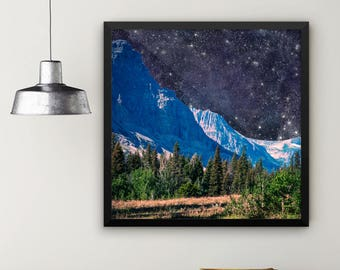 Outer Space Wall Art, Space Themed Bedroom, Night Sky Mountain Framed  Print, Dorm Room Decor, Galaxy Art, Surreal Art, Outer Space Decor