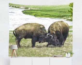 Bison Wall Tapestry, Wild Wall Tapestry, Dorm Room Tapestries, Yellowstone Decor, Wildlife Photography, Tapestry for Men, Gift for Dad
