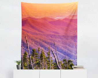 Dorm Room Wall Tapestry, Modern Tapestry, Rainbow Mountains Tapestry, Mountain Range, Colorful Dorm Decor, Dorm Tapestry, Smoky Mountain