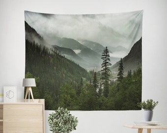Mountain Tapestry, Green Forest Wall Hanging, Epic View Nature Tapestry, Outdoor Adventure, Foggy Valley Bedroom Decor
