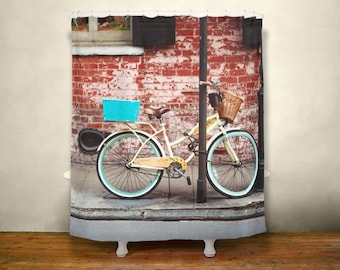 Bicycle 71x74 Inch Shower Curtain New Orleans Decor City Bike Modern Lovers