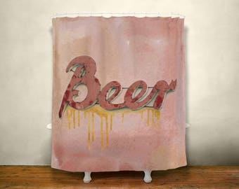 Valentines Gift For Men Beer Shower Curtain Guys Bathroom Decor Vintage Sign Man Cave Mens