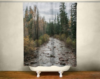 Forest Shower Curtain Scenic Nature Decor Colorado Landscape Photo Autumn River Bathroom