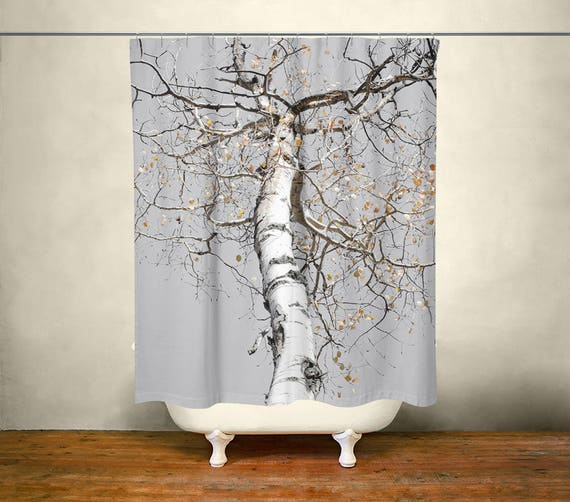 Birch Tree Shower Curtain Forest Decor White