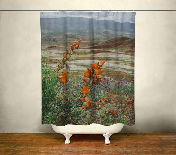 Wildflowers Shower Curtain Oregon Painted Hills Bathroom